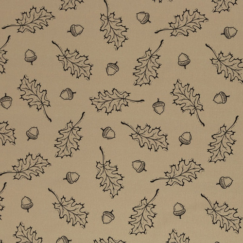 Oak Leaves, Khaki:  Digitally Printed Cotton Poplin
