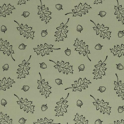 Oak Leaves, Sage Green:  Digitally Printed Cotton Poplin