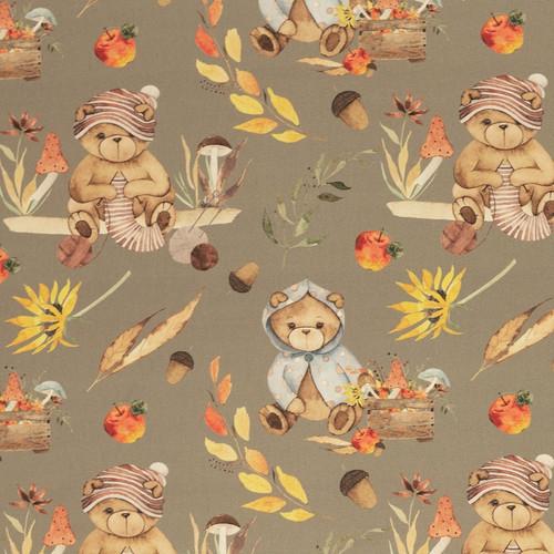 Autumn Bears, Khaki:  Digitally Printed Cotton Poplin