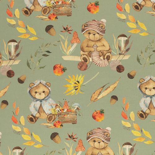 Autumn Bears, Sage Green:  Digitally Printed Cotton Poplin