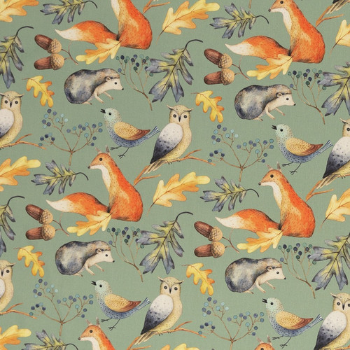 Autumn, Sage Green:  Digitally Printed Cotton Poplin
