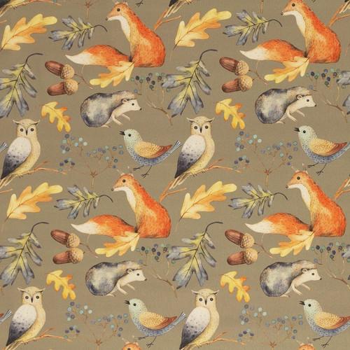 Autumn, Khaki:  Digitally Printed Cotton Poplin