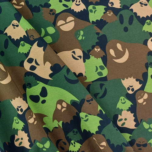 Hidden Ghosts, Army Green: Digitally Printed Jersey Knit
