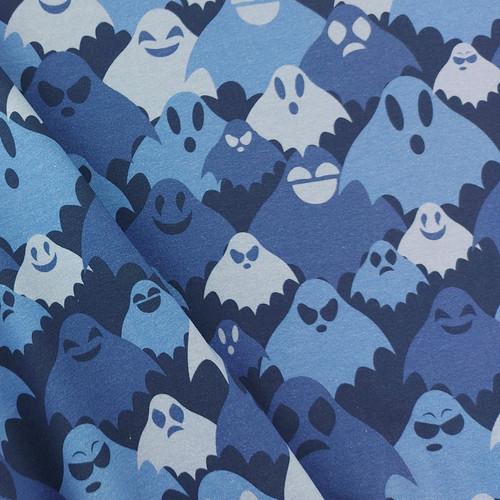 Hidden Ghosts, Blue: Digitally Printed Jersey Knit