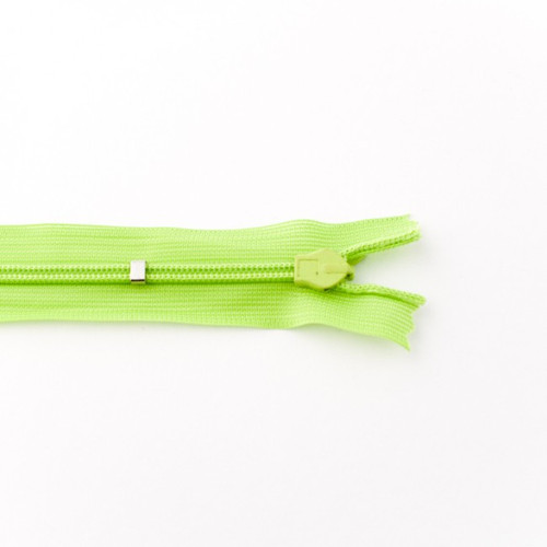 Adjustable Length Invisible Zipper: Lime (25 cm)