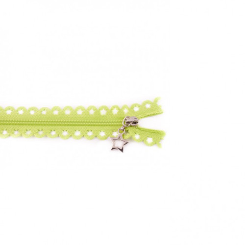 Star Cut Zipper: Lime (25 cm)