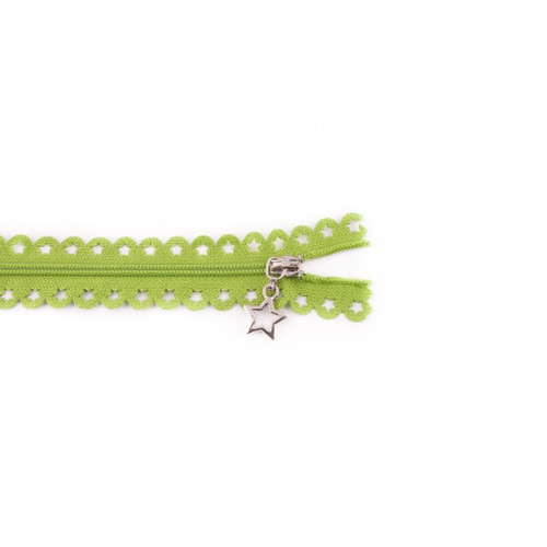Star Cut Zipper: Apple Green (25 cm)