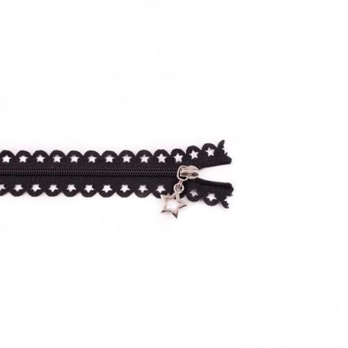 Star Cut Zipper: Black (25 cm)
