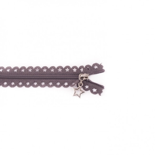 Star Cut Zipper: Dark Grey (25 cm)