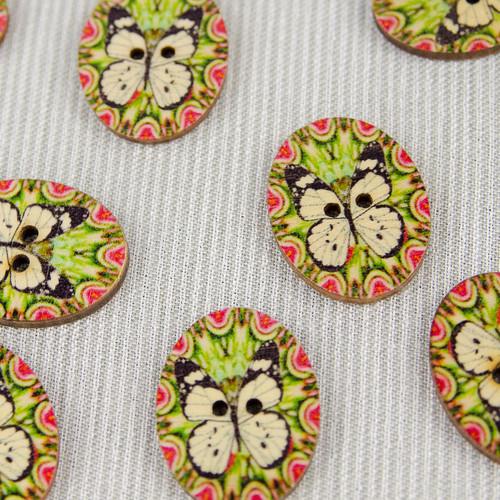 Butterfly, Green:  Wooden Button