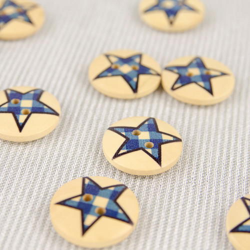 Patchwork Star, Blue:  Wooden Button
