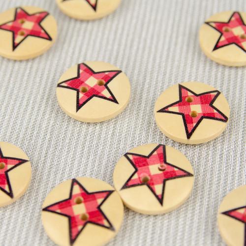 Patchwork Star, Red:  Wooden Button