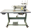 """Compound Needle Feed Walking Foot Sewing Machine (Unison Feed), with Big Bobbin, and Reverse Feed  Lockstitch Sewing Machine with a Big """"M"""" size Bobbin and Rotating Hook, (end loading mechanism), Dial operated stitch length regulator, Reverse feed lever, semi-automatic lubrication and sews up to 7/16"""" thicknesses. The power stand includes adjustable """"T"""" style steel legs, an ACF-622 Electronic A.C. Servo Motor, thread tree, LED low voltage lamp, drawer and accessories."""
