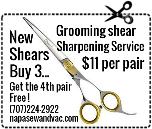 Grooming shear sharpening service.