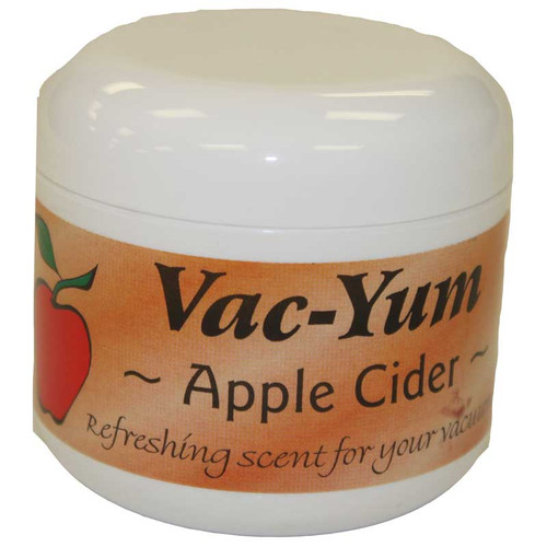 Vac-Yum Apple Cider Vacuum Scent. Refreshing scent for your vacuum. Place 1 tablespoon of VacYum inside a new vacuum bag. If you have a bagless vacuum, you can place a tablespoon of Vac Yum in the dirt cup. Sold each in a 1.8 ounce jar (51g).