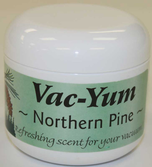 Vac-Yum Northern Pine Vacuum Scent. Refreshing scent for your vacuum. Place 1 tablespoon of VacYum inside a new vacuum bag. If you have a bagless vacuum, you can place a tablespoon of Vac Yum in the dirt cup. Sold each in a 1.8 ounce jar (51g).