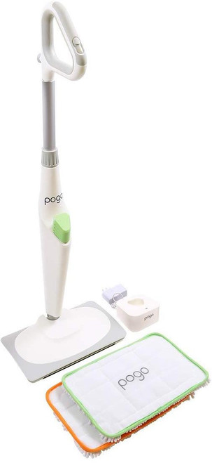 Pogo Electric Mop 4000 RPM Classic Home Unit 7.5 pounds 1 hour continues run-time  2 microfiber mop heads (101 sq. inches of the scrubbing surface) 1 Battery Power tool style battery charger On-edge power grout & spot cleaning Fully REPLACES any conventional MOP & BUCKET SYSTEM with FORWARD-DRIVE ACTION and       unmatchable 4000 RPM mopping action. Also works on most carpets and rugs.