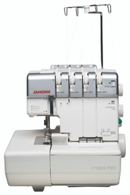 The 1110DX Pro makes serger sewing easy! Incorporating the differential feed system of two feed dogs, puckered edges on woven fabrics and stretched edges on knits are virtually eliminated. The rolled hem conversion feature eliminates the need to change the needle plate, foot or tension setting for rolled hemming. Restructured lower looper guides allow easy access. The included threading card and color-coded guides are easy to follow for 2, 3 or 4 thread serging.