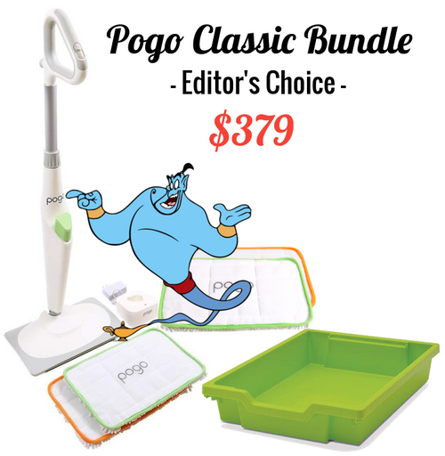 """The Pogo Classic Bundle gets you started and save you money. The $349 price tag includes: Pogo Classic Cordless Electric Mop @ $299.00  + Pogo Mop Pads - 2/ Pack @ $39.95  + Pogo Mop Matching Tray Jolly Lime: 12.3"""" x 16.8"""" x 3"""" @ $39.95"""