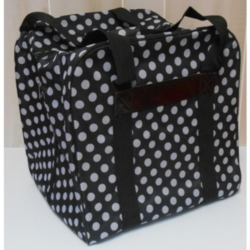 """The Hemline Dotty Serger/Overlock Bag: $29.95 Fits most brands of sergers on the market. The sturdy construction and beautiful print are just some of the reasons to buy the Hemline Dotty Serger/Overlock Bag. The Hemline Dotty Serger/Overlock Bag is lightweight and perfect for taking your serger to class. Hemline Dotty Serger/Overlock Bag in Navy Polka Dot features: Fits most brands of sergers on the market Interior Measurements 15.3""""High x 12.5""""Wide x 14.1"""" Deep Beautiful wear resistant material Heavy duty nylon straps Roomy outer notions pocket Colors: Black, Navy, Grey and Mauve."""