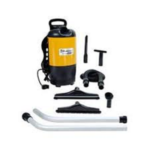 Carpet Pro Model SCBP1 BackPack Vacuum Cleaner: $359.99 Efficient, Powerful, Durable,this CarpetPro Backpack comes standard with; 5' hose, 2 piece extension wand, upholstery toll, dust brush, floor brush and rug tool. It has a very strong 11.5 amp, 1400 watt motor which is reasonably quiet at just 71dB. The detachable, 50' cord gives extra long reach and is easily replaceable if necessary. Extra clean air filtered by the 6 quart paper bag, quilted cloth filter bag and HEPA filter is exhausted out  the bottom of the vacuum. Empty weight of this versatile backpack is just 11 lbs. Padded shoulder straps reduce strain on back and shoulders. SCBP1 comes with 10 Paper Bags and FREE Shipping!