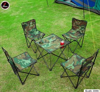 Set 4 karrige dhe Tavolinë Kampingu HY-8021