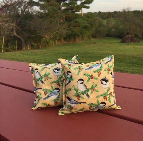 Chickadees on Yellow Balsam Small Pillow