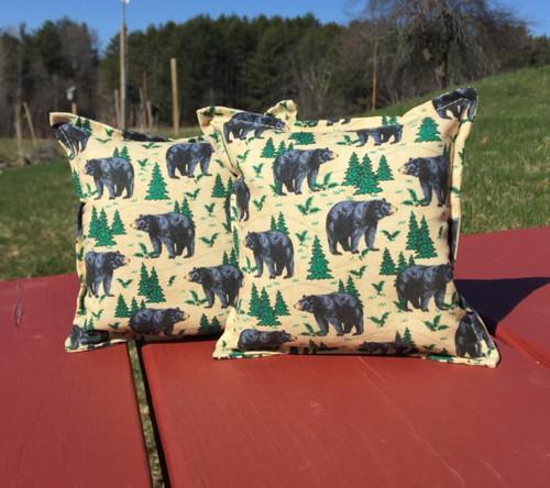 Black Bear and Balsam Fir Tree Balsam Small Pillow