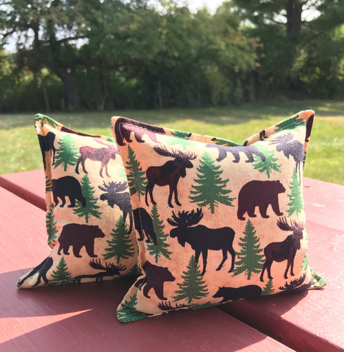 Bear and Moose silhouette balsam small pillow