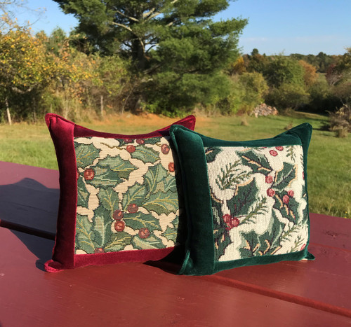 Holly and Berries Large Balsam Tapestry Pillow