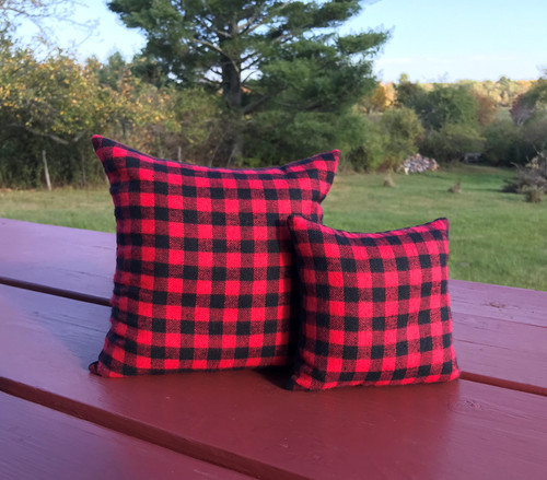 "Red Buffalo Plaid Flannel Pillows, 7""x7"" or 5""x5"""