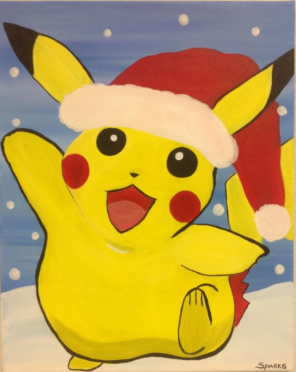 Christmas Paintings For Kids.Sparks Art For Kids Christmas Pikachu