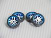 1/28 Mini Z Aluminum Drift Rim Set Front + Rear 20x8mm w/ Drift Tires -BLUE-