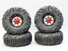 1/10 Truck Wheels 2.2 Aluminum RIMS Beadlock 7 Star RIMS + TIRES 140MM BLACK W/ RED