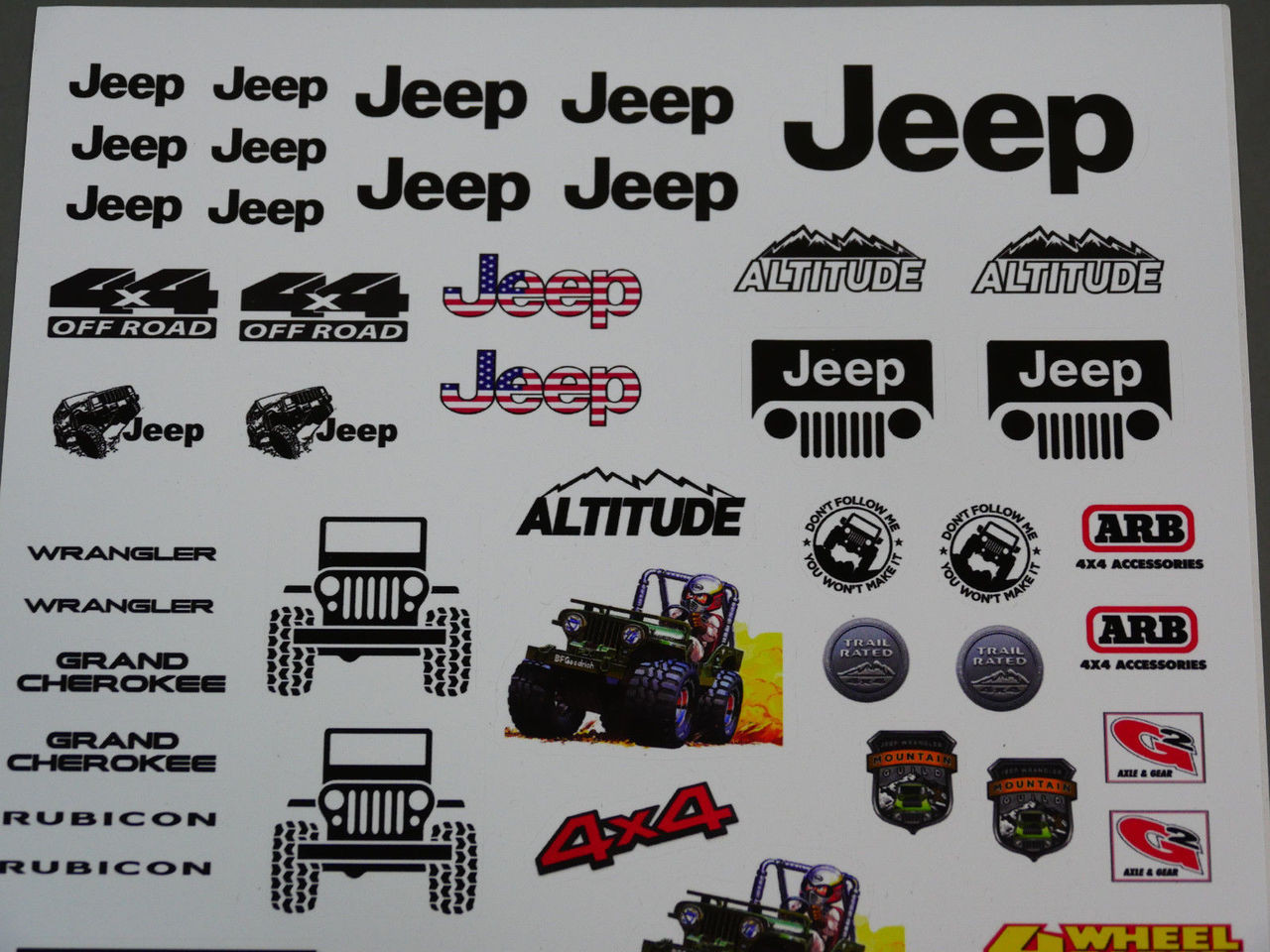 Jeep decals stickers for 1 10 rc crawlers