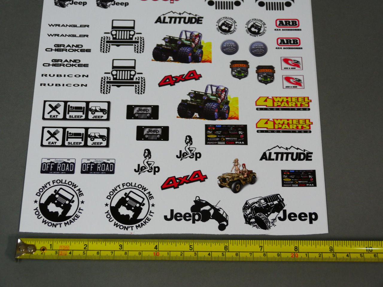 Rc 1 10 car truck jeep wrangler rubicon cherokee decals stickers sheet