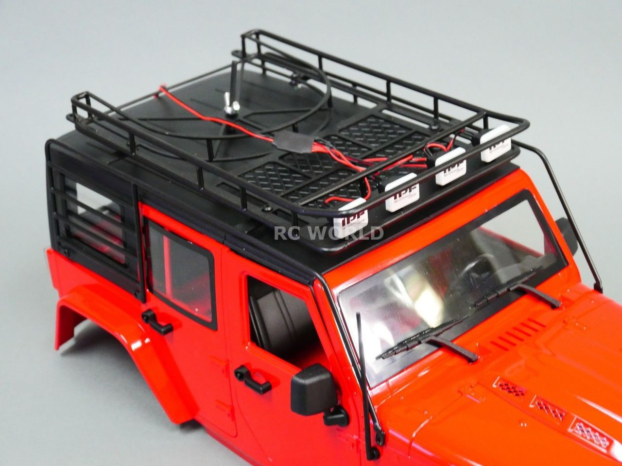 RC Scale JEEP Body  METAL CAGE ROOF RACK For Wrangler Body W// LED PODS HELLA