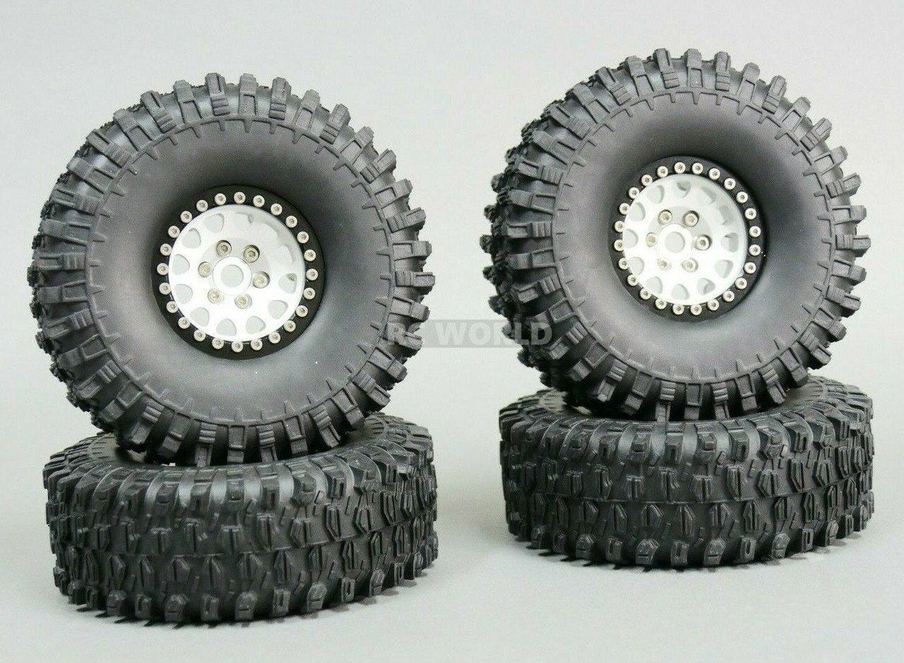 1//10 Scale Metal TRUCK WHEELS 1.9 Beadlock Rims V2 Silver Rim Red Rings 4pcs
