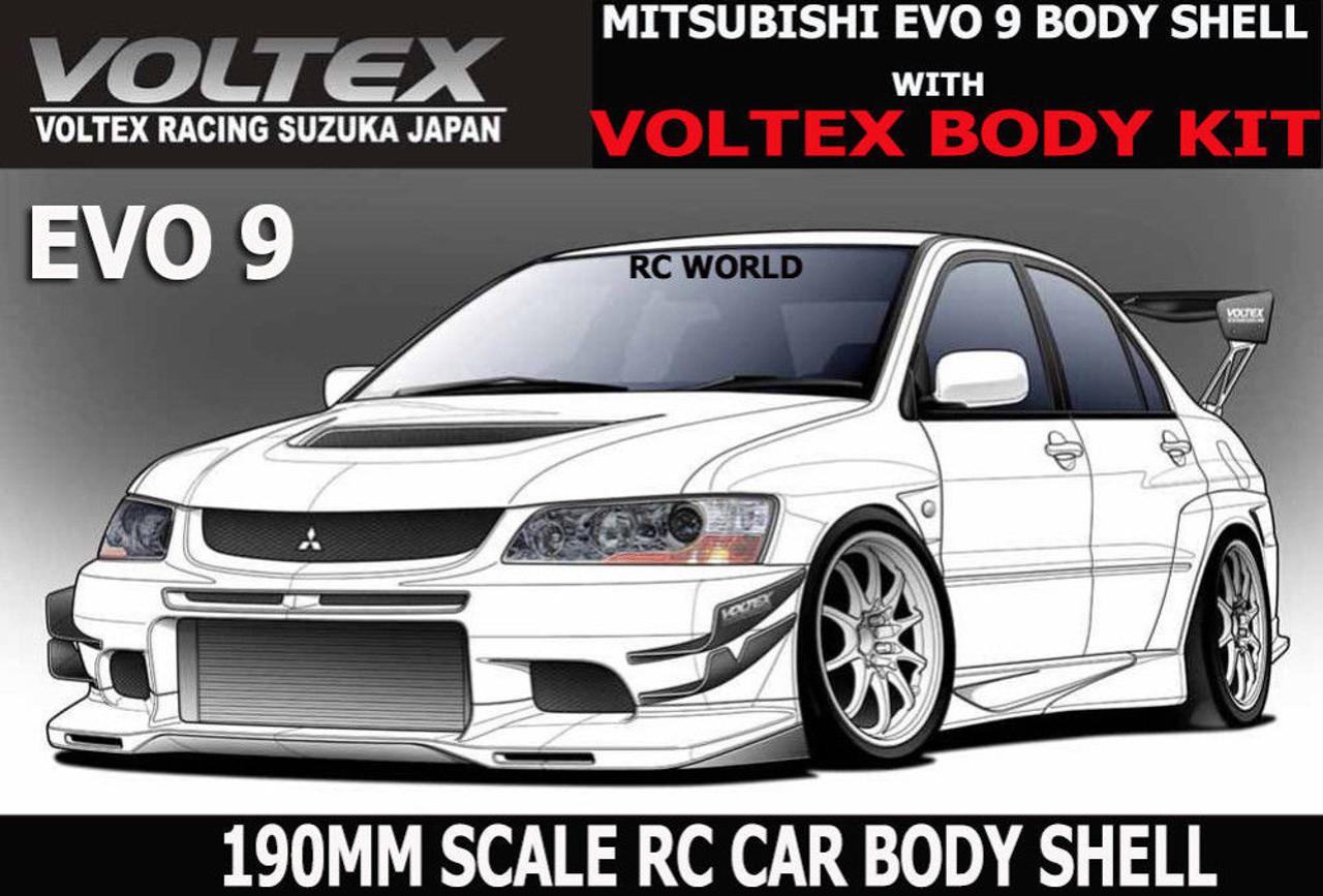 1/10 RC Car DRIFT Body Shell MITSUBISHI EVOLUTION EVO 9 W/ VOLTEX Body Kit