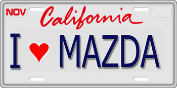 1/10 SCALE LICENSE PLATE FOR RC CAR * I LOVE MAZDA *