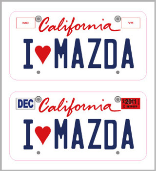 1/10 SCALE LICENSE PLATE FOR RC CAR * I LOVE MAZDA *