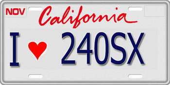 1/10 SCALE LICENSE PLATE FOR RC CAR * I LOVE 240SX * Nissan 240