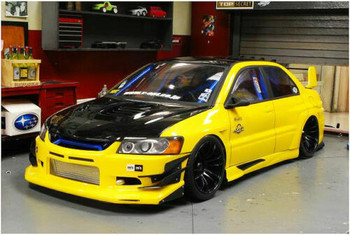 1/10 RC Car Body Shell MITSUBISHI EVOLUTION EVO DRIFT W/ Light Bucket -Clear
