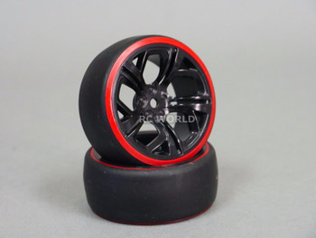 RC 1/10 DRIFT WHEELS Package 3MM Offset BLACK CUT W/ RED Color Rings