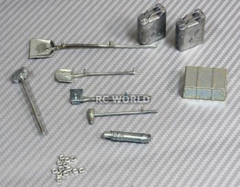 RC 1/12 Scale Truck Accessories Metal TOOLS Shovels, Fuel Tank, Box, Hammer
