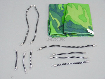 RC 1/10 Scale Accessories CAMOUFLAGE Tarp, Cover, W/ BUNGEE Cords
