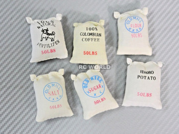 RC 1/10 Scale Accessories 50 POUND BAGS BURLAP Sacks Set (6 pcs)