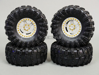 RC 1/10 Truck Wheels 2.2 ROCK CRAWLER Aluminum BEADLOCK Rims W/ Gmade Tires