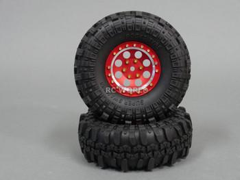 Axial RC 1/10 Scale Truck Rims 1.9 BEADLOCK Metal Aluminum Red w/ SUPER SWAMPERS