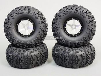 1/10 Truck Wheels 2.2 Aluminum RIMS Beadlock W/ 140mm TIRES Silver/Black